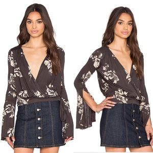 Free People FP Floral Wrap Bell Sleeve Fiona Top